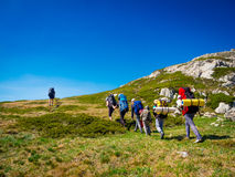 Hikers group trekking in Crimea Royalty Free Stock Photo