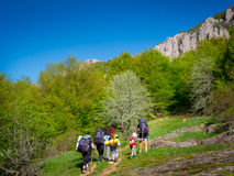 Hikers group trekking in Crimea Stock Photo
