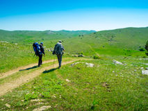 Hikers group trekking in Crimea Royalty Free Stock Images