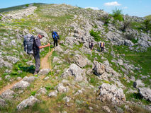 Hikers group trekking in Crimea Stock Photos