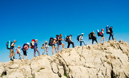 Hikers group trekking in Crimea Royalty Free Stock Photography