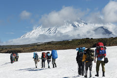 Hikers group trekking in mountains on background of volcanoes Royalty Free Stock Photography