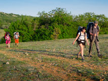 Hikers group walking Royalty Free Stock Photography