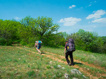 Hikers group walking Stock Photography