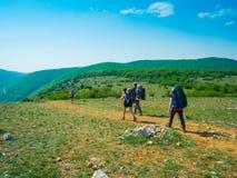 Hikers group walking Royalty Free Stock Image
