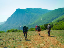 Hikers group walking Stock Image