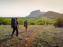 Hikers group walking Royalty Free Stock Photos
