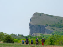 Hikers group walking in Crimea Stock Photos