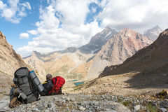 Hikers in high mountains. Royalty Free Stock Images