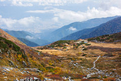 Hikers hiking in the Central Alps in Japan. Royalty Free Stock Image