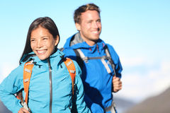 Hikers - hiking couple happy Stock Photos
