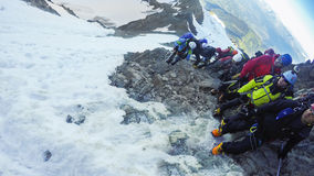 Hikers at hiking expedition toward Mont Blanc Royalty Free Stock Photo