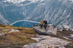 Trolltunga, Odda, Norway 21. June 2016, Hikers on the hiking trail to the world famous Trolltunga hike. Beautiful Norway, outdoors stock photography