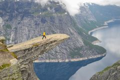 Trolltunga, Odda, Norway 21. June 2016, Hikers on the hiking trail to the world famous Trolltunga hike. Beautiful Norway, outdoors royalty free stock photos