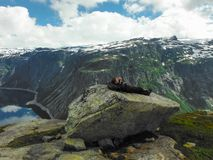 Trolltunga, Odda, Norway 21. June 2016, Hikers on the hiking trail to the world famous Trolltunga hike. Beautiful Norway, outdoors royalty free stock photography