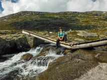 Trolltunga, Odda, Norway 21. June 2016, Hikers on the hiking trail to the world famous Trolltunga hike. Beautiful Norway, outdoors royalty free stock image