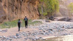 Hikers Hiking in Zion National Park Utah stock video footage