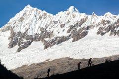 Hikers in Huaraz, Peru Royalty Free Stock Images