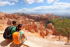 Free Hikers In Bryce Canyon Resting Enjoying View Stock Photo - 30673470