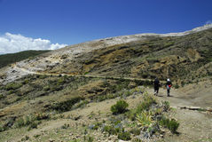 Hikers on Inca Trail on Isla del Sol with Titicaca Royalty Free Stock Photo