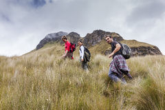 Hikers in the lagoon of Mojanda Stock Images