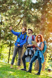Hikers looking at the way in distance Royalty Free Stock Photos