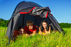 Hikers lying in the tent Royalty Free Stock Photography