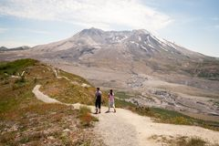 Hikers at Mount Saint Helens royalty free stock image