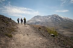 Hikers at Mount Saint Helens royalty free stock photos
