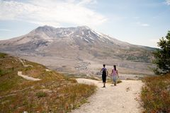 Hikers at Mount Saint Helens stock image