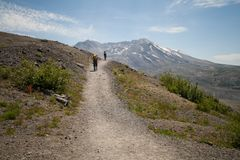 Hikers at Mount Saint Helens stock photos