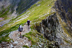 Hikers on mountain Royalty Free Stock Images