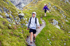 Hikers on mountain Royalty Free Stock Photo