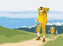 Hikers on mountain path. Group of three hikers in the mountain - trekking adventure. Vector illustration Royalty Free Stock Photo