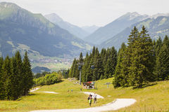 Hikers on Mountain Path Royalty Free Stock Image