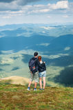 Hikers on the mountain peak Royalty Free Stock Images