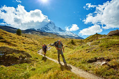 Hikers in the mountains. Hikers with backpacks on the trail in the Apls mountains. Trek near Matterhorn mount Stock Images