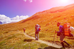Hikers in the mountains Royalty Free Stock Images