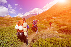 Hikers in the mountains Stock Photos