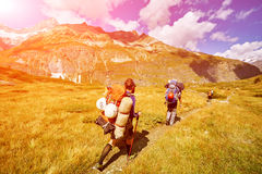Hikers in the mountains Stock Image