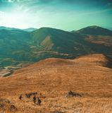 Hikers on mountains royalty free stock photography
