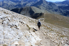 Hikers in the Mountains. Tourists hiking high in the Pirin mountains Royalty Free Stock Photos
