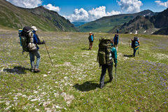 Hikers moving to the top. Stock Photos