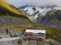 Hikers, Mt. Cook National Park, New Zealand Royalty Free Stock Photo