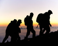 Hikers on Mt Fuji Stock Photo