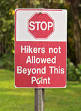Hikers not allowed Stock Photo