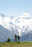 Hikers over the Latschenalm, Gerlos, Austria stock image