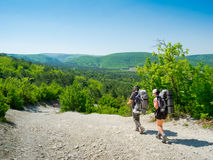Hikers on a path Royalty Free Stock Image