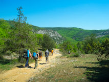 Hikers on a path Stock Photos