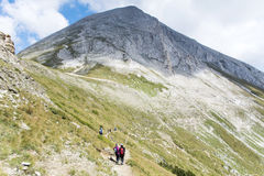 Hikers in Pirin mountain, Bulgaria stock photo